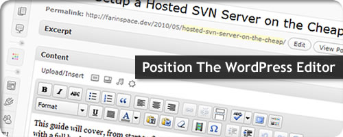 Position The WordPress Editor